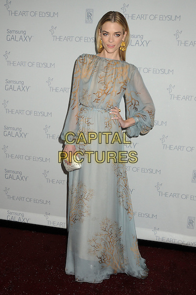 full length, grey dress, print, sheer, long sleeve, maxi, clutch bag,10 January 2015 - Santa Monica, California - Jaime King. The Art of Elysium&rsquo;s 8th Annual Heaven Gala held at Hangar 8.   <br /> CAP/ADM/BP<br /> &copy;Byron Purvis/AdMedia/Capital Pictures