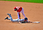 7 June 2009: Washington Nationals' infielder Cristian Guzman catches New York Mets catcher Brian Schneider off second base in the 8th inning at Nationals Park in Washington, DC. The Mets shut out the Nationals 7-0 to take the third game of the weekend series. Mandatory Credit: Ed Wolfstein Photo