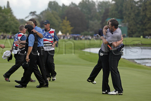 23 September 2006: European players Luke Donald and Sergio Garcia celebrate winning their foursomes match against Mickelson and Toms on the 17th green during the second day of The 2006 Ryder Cup played at The K Club, Straffan, County Kildare, Ireland. Garcia and Donald won the match 2 & 1 Photo: Glyn Kirk/Actionplus...060923 golf golfer joy celebration