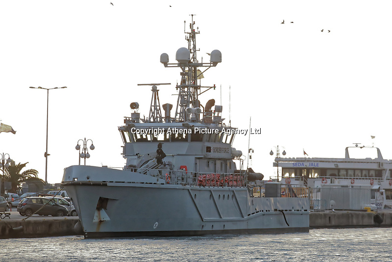 The border control vessel HMC Protector on the port of Mytilene on the island of Lesbos, Greece. Thursday 03 January 2018