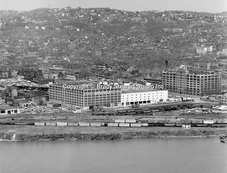 Pittsburgh PA:  View of Pittsburgh's North Side from Mt Washington - 1962.  View includes the famous Kaufmann's Warehouse where good deals could be had most weekends.
