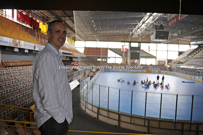 Edward Hartmann, a former goalie and current General Manager of the Dukla Trencin hockey club, is seen in the club's stadium facilities as the youth team works out in Trencin, Slovakia on June 21, 2010.