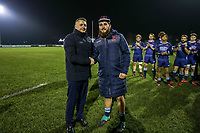 Phil CRINGLE of London Scottish is presented with his 50th Cap after the Championship Cup match between London Scottish Football Club and Ealing Trailfinders at Richmond Athletic Ground, Richmond, United Kingdom on 23 November 2018. Photo by David Horn/PRiME Media Images