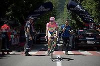 maglia rosa Alberto Contador (ESP/Tinkoff-Saxo) to the  start<br /> <br /> stage 17: Tirano - Lugano (SUI) (134km)<br /> 2015 Giro d'Italia
