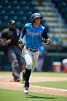 Tampa Tarpons Pablo Olivares (7) runs to first base during a Florida State League game against the Bradenton Marauders on May 26, 2019 at LECOM Park in Bradenton, Florida.  Bradenton defeated Tampa 3-1.  (Mike Janes/Four Seam Images)