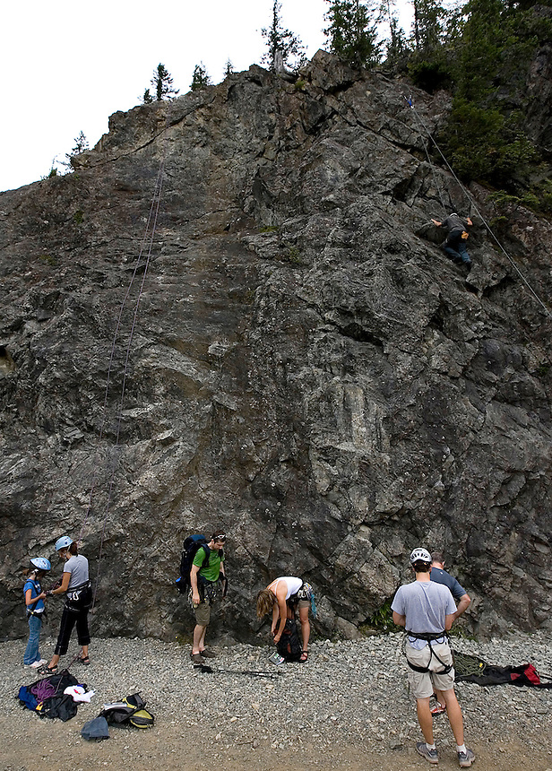 Photo by Stephen Brashear.Climbers make use of a cliff along the John Wayne Pioneer Trail between Hyak, Wash., and Rattlesnake Lake near North Bend, Wash., Sunday Aug. 17, 2008. the trail is part of the old Chicago-Milwaukee-St. Paul-Pacific Railroad line.