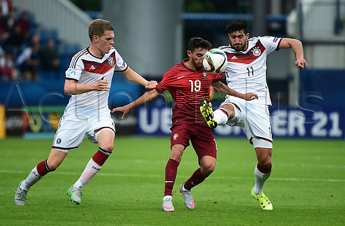 27.06.2015. Andruv Stadium, Olomouc, Czech Republic. U21 European championships, semi-final. Portugal versus Germany.  Matthias Ginter (Germany), Ricardo Horta (Portugal), Emre Can (Germany)
