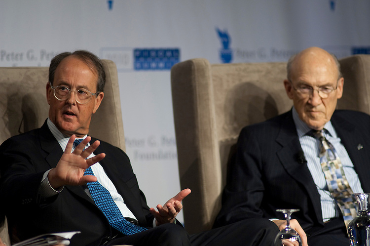 WASHINGTON, DC - April 28: National Commission on Fiscal Responsibility and Reform co-chairmen Erskine Bowles, and Alan Simpson during a panel discussion at the 2010 Fiscal Summit sponsored by the Peter G. Peterson Foundation. (Photo by Scott J. Ferrell/Congressional Quarterly)