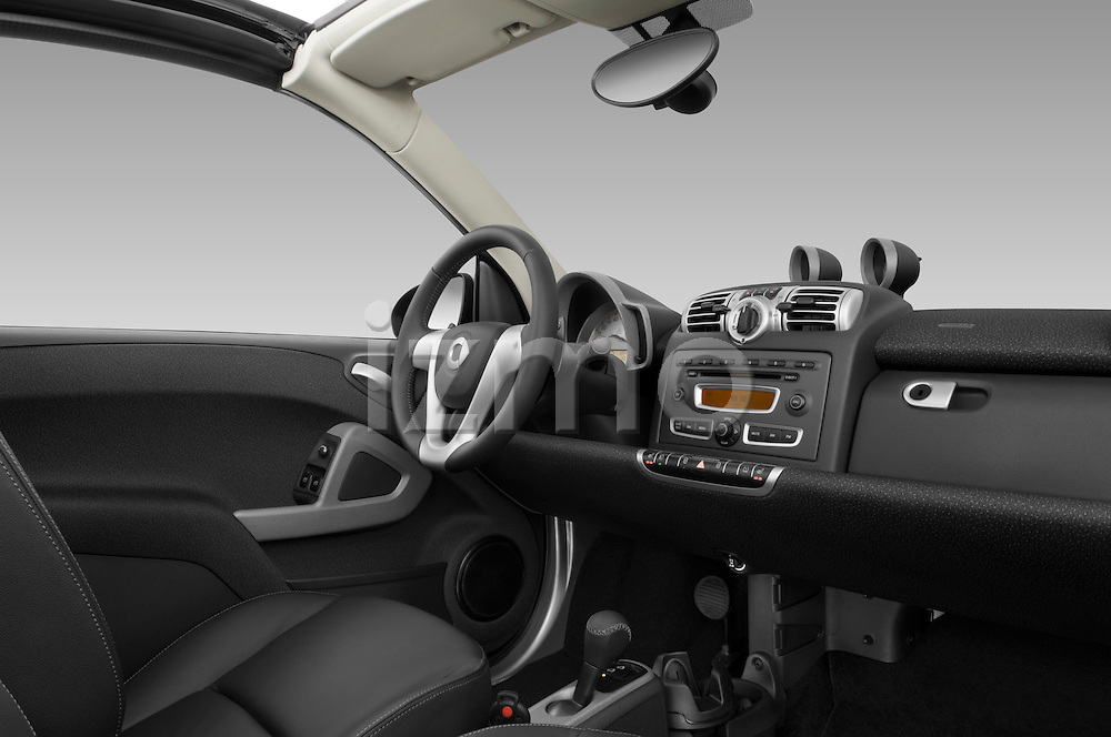 Passenger side dashboard view of a 2009 SmartForTwo Cabriolet.