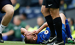 Marc Albrighton of Leicester City holds his eye after he claims he was elbowed during the English Premier League match at the Etihad Stadium, Manchester. Picture date: May 13th 2017. Pic credit should read: Simon Bellis/Sportimage