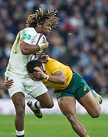 Twickenham, United Kingdom. Marland YARDE, tackled on the wing by, Sefania NAIVALU, during the Old Mutual Wealth Series Rest Match: England vs Australia, at the RFU Stadium, Twickenham, England, <br /> <br /> Saturday  03/12/2016<br /> <br /> [Mandatory Credit; Peter Spurrier/Intersport-images]