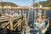 Fishing boats in dock on Grey River in Greymouth, West Coast, Buller Region, New Zealand