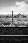 Cuervo, New Mexico, Getty's Memorial Baptist Church, Railroad tracks, Western landscape, scenic,