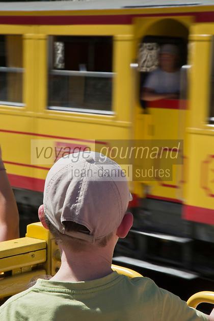 Europe/France/Languedoc-Roussillon/66/Pyrénées-Orientales/Conflent/F Env ontpédrouse: Le Train jaune de Cerdagne appelé le Train Jaune ou le Canari, car les véhicules arborent les couleurs catalanes, le jaune et le rouge à la gare de Fontpédrouse-Saint-Thomas-les-Bains gare de Fontpédrouse-Saint-Thomas-les-Bains - Les gares permettent le croisement des convois par le biais de voies d'évitement.