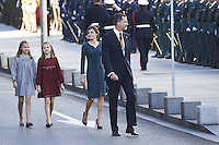 17 November 2016 - Madrid, Spain - Queen Letizia, Princess Leonor, Princess Sofia and King Felipe attend the ceremony to inaugurate the XII Legislature in Madrid. Photo Credit: PPE/face to face/AdMedia