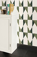 Tennant, a hand-cut stone mosaic, shown in honed Dolomite, Chartreuse, polished Nero Marquina, and Ivy Basalto, is part of the Bright Young Things™ collection by New Ravenna.