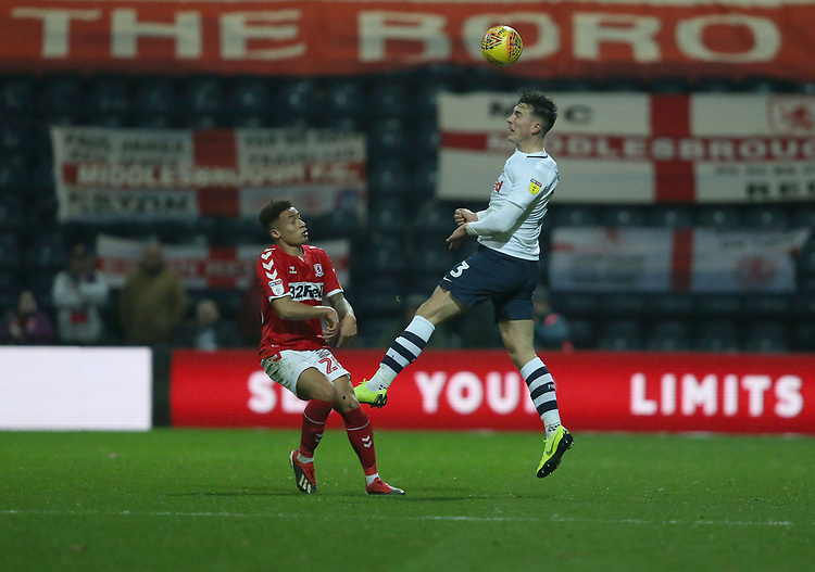 Preston North End's Josh Earl heads under pressure from Middlesbrough's Marcus Tavernier<br /> <br /> Photographer Stephen White/CameraSport<br /> <br /> The EFL Sky Bet Championship - Preston North End v Middlesbrough - Tuesday 27th November 2018 - Deepdale Stadium - Preston<br /> <br /> World Copyright © 2018 CameraSport. All rights reserved. 43 Linden Ave. Countesthorpe. Leicester. England. LE8 5PG - Tel: +44 (0) 116 277 4147 - admin@camerasport.com - www.camerasport.com