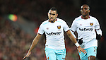 Dimitri Payet of West Ham United celebrates during the Premier League match at Anfield Stadium, Liverpool. Picture date: December 11th, 2016.Photo credit should read: Lynne Cameron/Sportimage