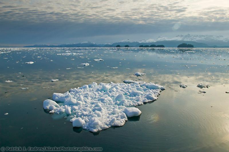 Knight Island Passage, Pleiades Islands, floating glacier ice bergs, Prince William Sound, Alaska