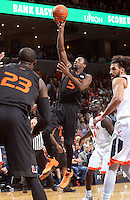Miami guard Davon Reed (5) during the game Tuesday, Jan. 12, 2016 in Charlottesville, Va. Virginia defeated Miami 66-58. Photo/Andrew Shurtleff
