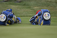 European Team golf bags on the par3 8th green during the Afternoon Fourballs on Day1 of the Ryder Cup at Valhalla Golf Club, Louisville, Kentucky, USA, 19th September 2008 (Photo by Eoin Clarke/GOLFFILE)