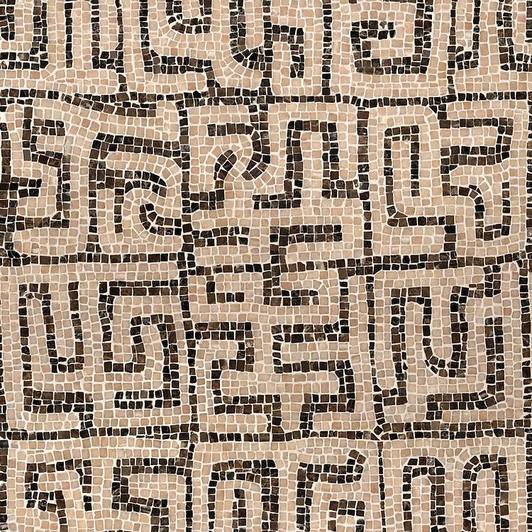 Kuba, a hand-chopped stone mosaic, shown in tumbled Emperador Dark, Rosa Portagallo.
