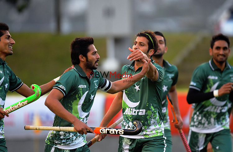 Pakistan players celebrate the opening goal during the international men's hockey match between the NZ Black Sticks and Pakistan at National Hockey Stadium in Wellington, New Zealand on Monday, 20 March 2017. Photo: Dave Lintott / lintottphoto.co.nz