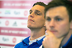 Morten Olsen, Daniel Agger and William Kvist at the press conference before Euro Playoffs second leg game between Denmark and Sweden in Parken, Copenhagen