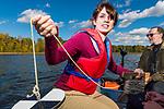 Professor Rolf Vinebrooke conducts a freshwater ecology class at Hasse Lake, Alberta, on September 22, 2015.<br /> ©2015 John Ulan