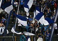 BOGOTA - COLOMBIA - 04 - 03 - 2018: Hinchas de Millonarios animan a su equipo durante partido de la fecha 6 entre Millonarios y America de Cali, por la Liga Aguila I 2018, jugado en el estadio Nemesio Camacho El Campin de la ciudad de Bogota. / Fans of Millonarios cheer for their team during a match of the 6th date between Millonarios and America de Cali, for the Liga Aguila I 2018 played at the Nemesio Camacho El Campin Stadium in Bogota city, Photo: VizzorImage / Luis Ramirez / Staff.