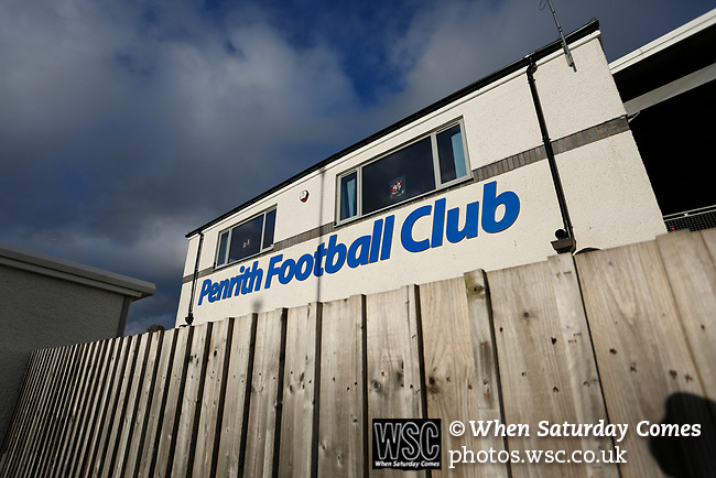 Penrith sign on the main stand. Penrith AFC V Hebburn Town, Northern League Division One, 22nd December 2018. Penrith are the only Cumbrian team in the Northern League. All the other teams are based across the Pennines in the north east.<br />