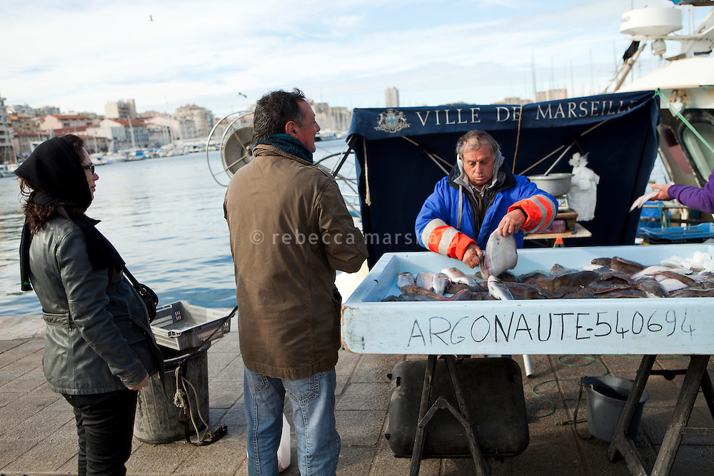 Fish market, the Old Port, Marseille, France, 04 February 2013