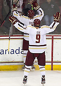Brendan Silk (BC - 9), Teddy Doherty (BC - 4) - The Boston College Eagles defeated the visiting Boston University Terriers 5-2 on Saturday, December 1, 2012, at Kelley Rink in Conte Forum in Chestnut Hill, Massachusetts.