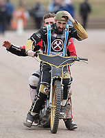 Nick Laurence and George Hunter of Lakeside Hammers on the victory lap<br /> <br /> Photographer Rob Newell/CameraSport<br /> <br /> National League Speedway - Lakeside Hammers v Eastbourne Eagles - Lee Richardson Memorial Trophy, First Leg - Friday 14th April 2017 - The Arena Essex Raceway - Thurrock, Essex<br /> &copy; CameraSport - 43 Linden Ave. Countesthorpe. Leicester. England. LE8 5PG - Tel: +44 (0) 116 277 4147 - admin@camerasport.com - www.camerasport.com