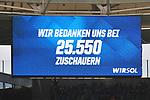 Die Zuschauerzahl an der Anzeigetafel beim Spiel in der Fussball Bundesliga, TSG 1899 Hoffenheim - VfL Wolfsburg.<br /> <br /> Foto &copy; PIX-Sportfotos *** Foto ist honorarpflichtig! *** Auf Anfrage in hoeherer Qualitaet/Aufloesung. Belegexemplar erbeten. Veroeffentlichung ausschliesslich fuer journalistisch-publizistische Zwecke. For editorial use only.