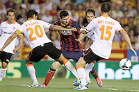 Valencia's Ricardo Costa (l) and Javi Fuego (r) and FC Barcelona's Leo Messi during La Liga match.September 1,2013. (ALTERPHOTOS/Acero) <br /> Football Calcio 2013/2014<br /> La Liga Spagna<br /> Foto Alterphotos / Insidefoto <br /> ITALY ONLY
