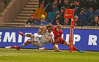 7th February 2020; AJ Bell Stadium, Salford, Lancashire, England; Premiership Cup Rugby, Sale Sharks versus Saracens;  Ali Crossdale of Saracens saves a possible try for Sale by forcing  Marlon Yarde of Sale Sharks into touch