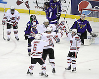 UNO celebrates Andrej Sustr's goal that gave the Mavericks a 1-0 lead in the first period. (Photo by Michelle Bishop)