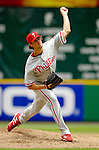 11 June 2006: Cole Hamels, pitcher for the Philadelphia Phillies, on the mound during a game against the Washington Nationals at RFK Stadium, in Washington, DC. The Nationals shut out the visiting Phillies 6-0 to take the series three games to one...Mandatory Photo Credit: Ed Wolfstein Photo..