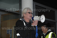 Residents at the Civic Centre in Ebbw Vale in protest of the Borough of Blaenau Gwent's new Trolibocs recycling system. Rally organiser Mandy Shale. <br /> <br /> <br /> Jeff Thomas Photography -  www.jaypics.photoshelter.com - <br /> e-mail swansea1001@hotmail.co.uk -<br /> Mob: 07837 386244 -