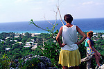 Tourists explore Cayman Brac on the Bluff at Spot Bay, Cayman Islands, British West Indies,