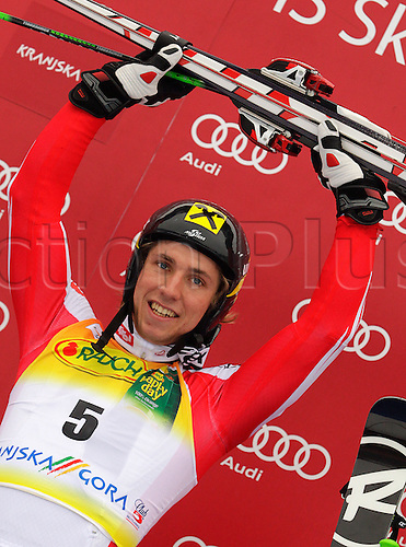 Winner Marcel Hirscher of Austria celebrates his medal won in second Men giant slalom race of Audi FIS alpine skiing World Cup in Kranjska Gora, Slovenia. Second giant slalom race of Men Audi FIS Alpine skiing World Cup 2009-10, was held on Saturday in Kranjska Gora, Slovenia, on 30th of January 2010. Photo Primoz/Actionplus - Editorial Use No Sweden or Finland