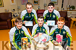 Launching the Hospice Christmas card campaign at the Palliative Care Unit of the Kerry General Hospital on Monday night were the Kerry minors and the Tom Markham Cup l-r  Micheal Reidy, James Duggan and Jack Morgan. Back l-r  Andrew Barry and Ferdie O'Brien