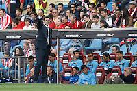 22.04.2012 MADRID, SPAIN - La Liga 11/12 match played between At. Madrid vs R.C.D. Espanyol (3-1) at Vicente Calderon stadium. the picture show Mauricio Roberto Pochettino Trossero coach of Espanyol