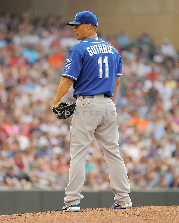 Kansas City Royals Jeremy Guthrie (11) during a game against the Minnesota Twins on August 17, 2014 at Target Field in Minneapolis, MN. The Royals beat the Twins 12-6.