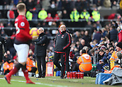 9th February 2019, Craven Cottage, London, England; EPL Premier League football, Fulham versus Manchester United; Manchester United Assistant Manager Mike Phelan watching Luke Shaw of Manchester United from the touchline