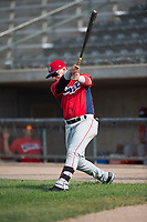 Orem Owlz first baseman Connor Fitzsimons (14) warms up before a Pioneer League game against the Missoula Osprey at Ogren Park Allegiance Field on August 19, 2018 in Missoula, Montana. The Missoula Osprey defeated the Orem Owlz by a score of 8-0. (Zachary Lucy/Four Seam Images)