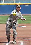 April 15, 2012:   Airman First Class Michael Echavarria throws out the ceremonial first pitch on Support the Troops Day before the California Bears and Arizona Wildcats NCAA softball game played at Levine-Fricke Field on Sunday afternoon in Berkeley, California.  California won the game 6-0.