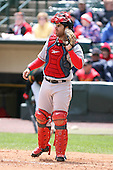 April 30th 2008:  Dusty Brown (15) of the Pawtucket Red Sox, Class-AAA affiliate of the Boston Red Sox, catching during a game at Frontier Field  in Rochester, NY.  Photo by Mike Janes/Four Seam Images