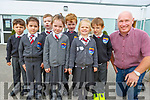 Junior Infants class in St Brendans NS Fenit on Monday. <br /> Front l to r: Peig Clifford, Olivia Ponti, Mia Skretny and Padraig O'Connell (Deputy Principal).<br /> Back  Paidí Honeyman, Alan Fitzgerald, Cian O'Sullivan and Diarmuid Browne.